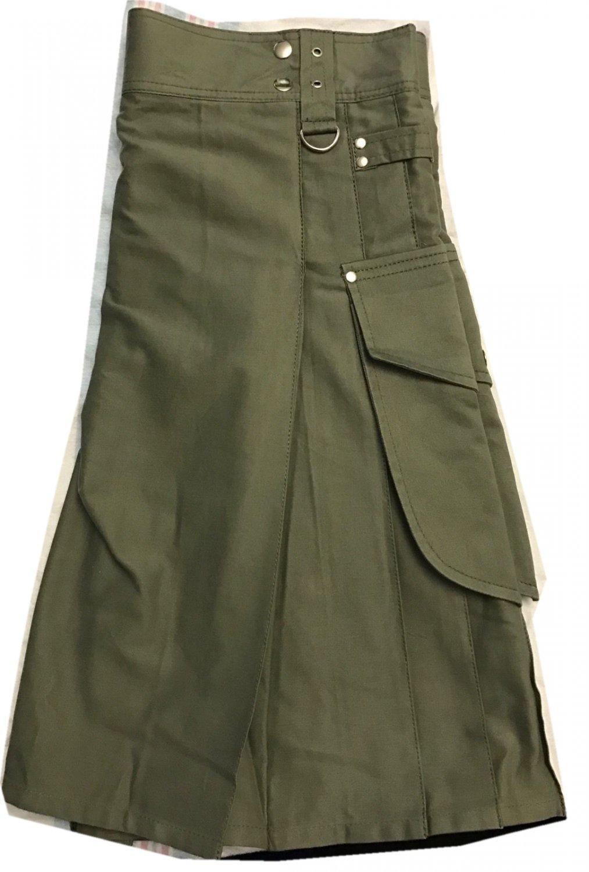 Scottish Wears Active Men Modern Fashion Pocket Olive Green Cotton New Kilt