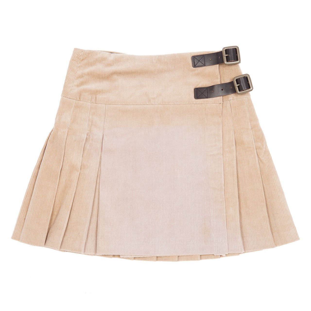Pure Cotton Stacy Mini Kilt Cream Skirt With Brown Buckle