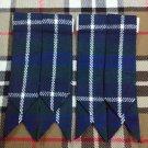 Mens Scottish Kilt Hose Sock Flashes Blue Douglas Tartan/Blue Douglas Flashes