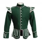 44 Size Military Piper Drummer Band Scottish Doublet Jacket Green & Silver