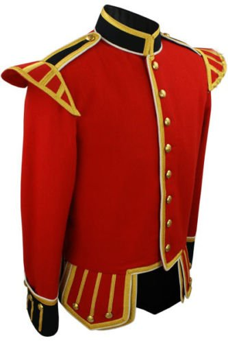 "44"" Chest Military Piper Drummer Band Scottish Doublet Jacket Red & Golden"