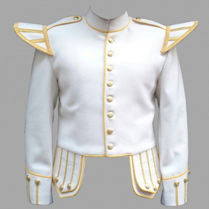 White & Golden Military Piper Drummer Band Scottish Doublet Jacket 48 Inches Chest