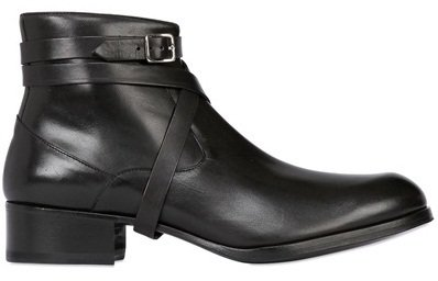 11 USA Size Handmade men�s ankle leather boot Men black wrap around formal leather boot