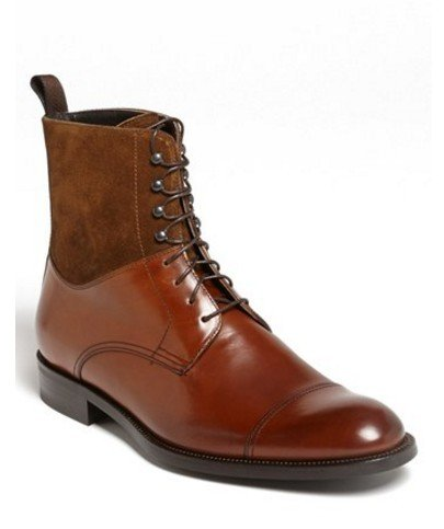 UK Size 11 Handmade men's genuine leather and suede boots Real leather brown boots