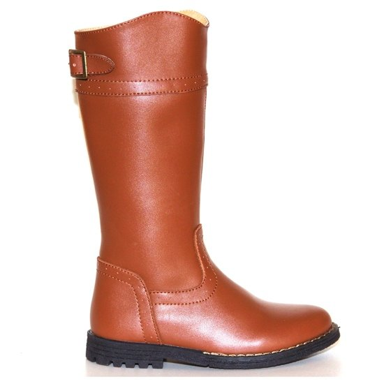 Leather Long Riding Boots Classic Buckle Light Saddle Brown UK 12 Number