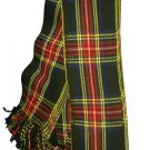 Scottish Piper Kilt Fly Plaid Black Stewart Tartan KILT piper PLAID