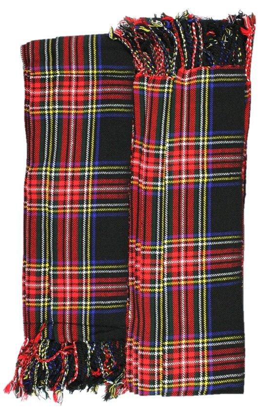Scottish Kilt Fly Plaids In Black Stewart Tartan Piper Fly Plaid 3 /1/2 Yards