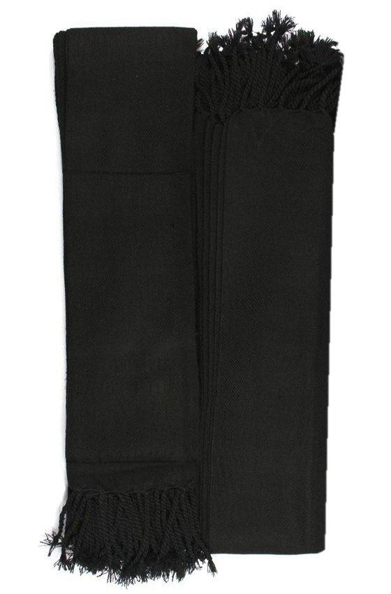 Scottish Kilt Fly Plaids Plain Black Tartan Piper FlyPlaid 3 /1/2 Yards Uniform