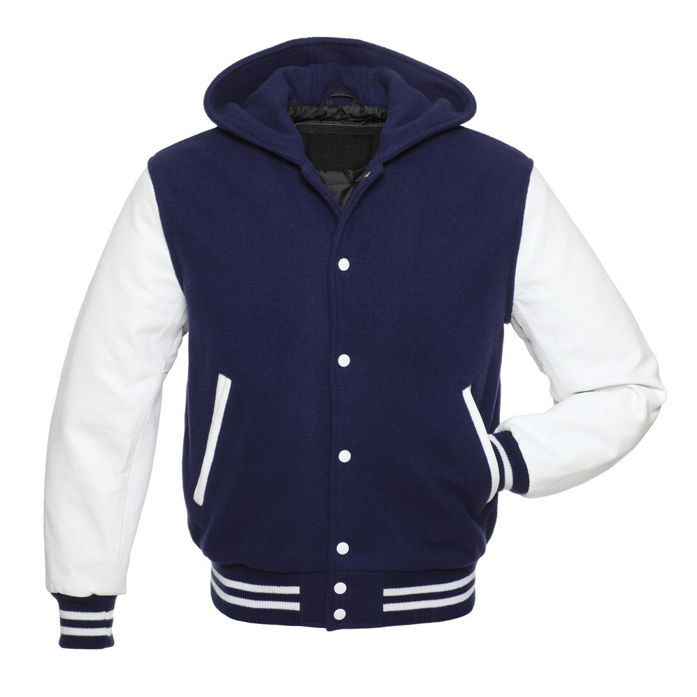 Navy Blue and White letter man varsity jacket/hoodie in 100% Pure wool