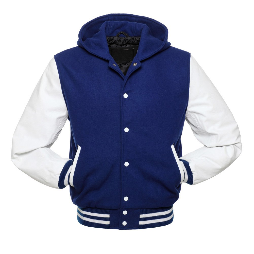 Royal Blue Wool With White Real Leather Arms,Letterman Varsity Hoodie Jackets 2XS~4XL