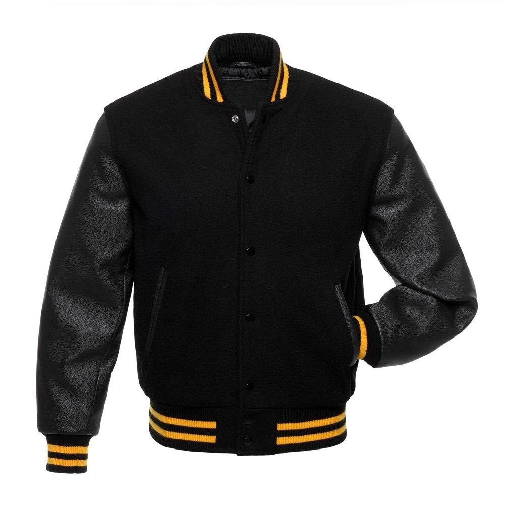 Solid Black Wool Real Leather Arms, Gold Letterman Varsity Hoodie Jacket