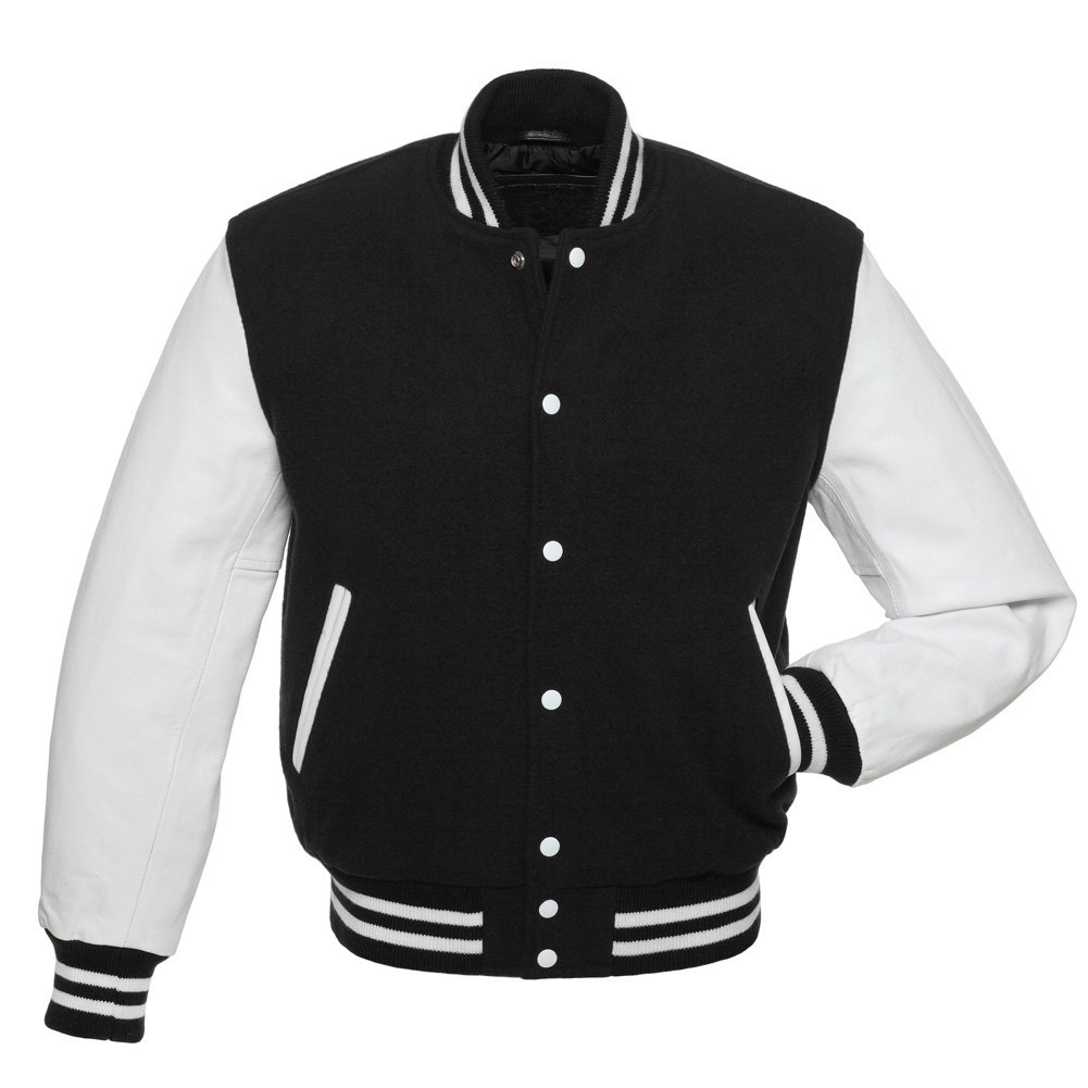 Letterman Varsity Jacket, Black Wool,White Real Leather Sleeves