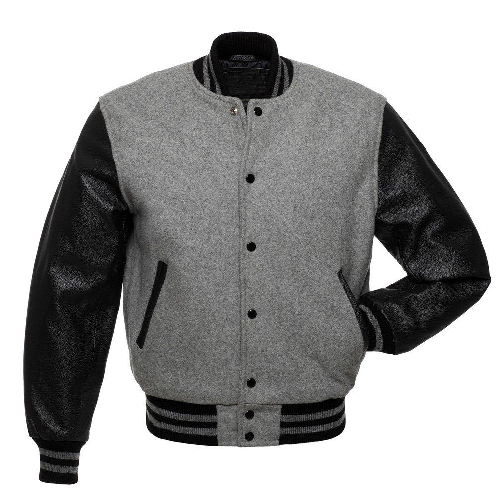 Grey Wool & Black Leather Arms College,Varsity Jacket