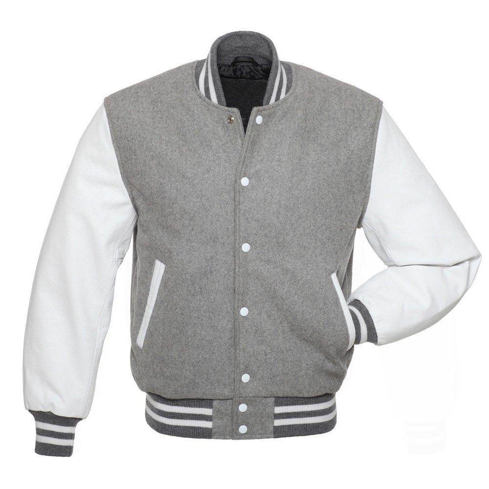 Grey Wool & White Leather Arms College,Varsity Jacket