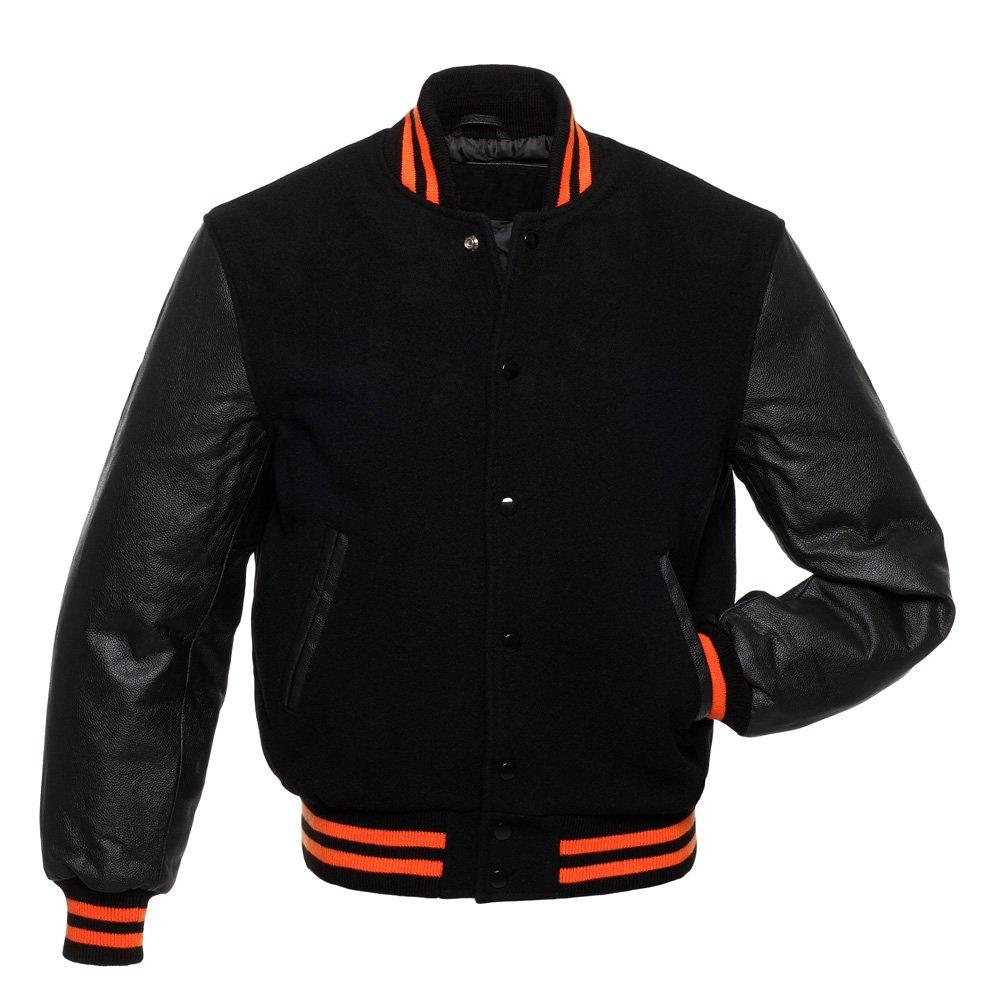 Black Wool Premium-Varsity-COLLEGE-LETTERMAN-FULL WOOL-JACKET