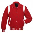 Red Wool , White Stripe Arms,Letterman Varsity Hoodie Jacket