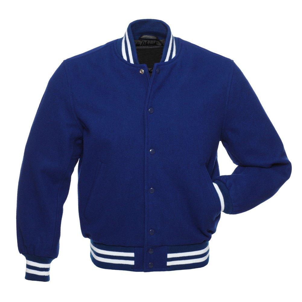 Royal Blue Wool Body & WoolSleeves College Baseball Letterman Varsity Jacket