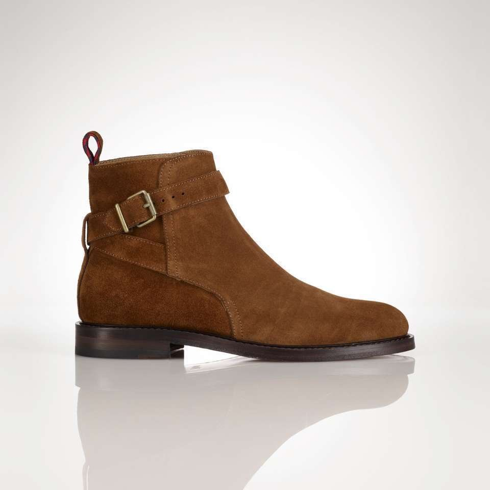 Handmade men Tan color jodhpurs ankle boot, Men ankle high suede leather boot