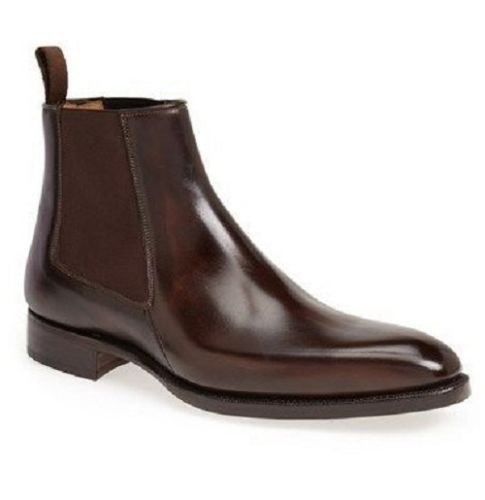Taichi Handmade Men Brown Chelsea Suede Leather Boots, leather boot crepe sole