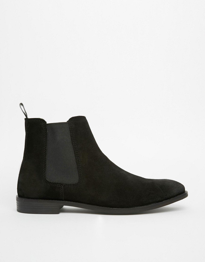 Taichi Handmade Men Black Chelsea Suede Leather Boots, leather boot crepe sole