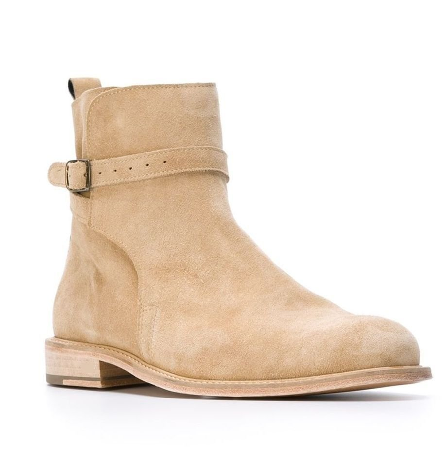 New Handmade jodhpurs ankle boot, Men ankle high suede leather style boots