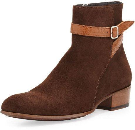 Handmade men Jodhpur suede side zipper boots, New mens brown ankle high boots