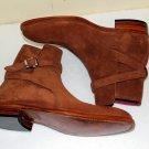 Handmade Men's Tan brown Suede jodhpurs boot, Handmade Mens Tan ankle suede boot
