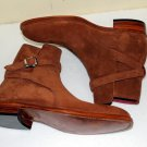 All Sizes Men's Tan brown Suede jodhpurs boot, Handmade Mens Tan ankle suede boot
