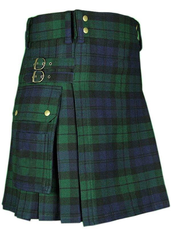 "44"" Black Watch Tartan Kilt Modern Utility Cargo Pockets Kilt Highlander Outdoor Kilt"