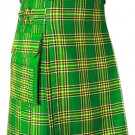 Irish National Tartan: 32 Waist Modern Utility Cargo Pockets Kilt Highlander Outdoor Kilt