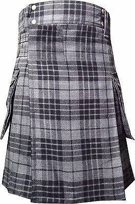 Grey Watch Tartan: Highlander Modern Utility Cargo Pocket Kilt in 6 Yards 32 Size