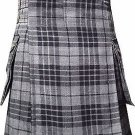 Grey Watch Tartan: Highlander Modern Utility Cargo Pocket Kilt in 6 Yards 38 Size
