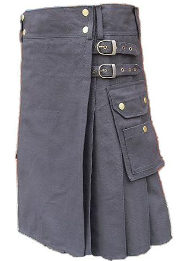 Size 50 Gray Tactical Duty Utility Kilt Cotton Kilt With Cargo Pockets