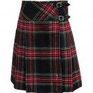 Size 32 Ladies Knee Length Skirt in Black Stewart Tartan Billie Pleated Kilt