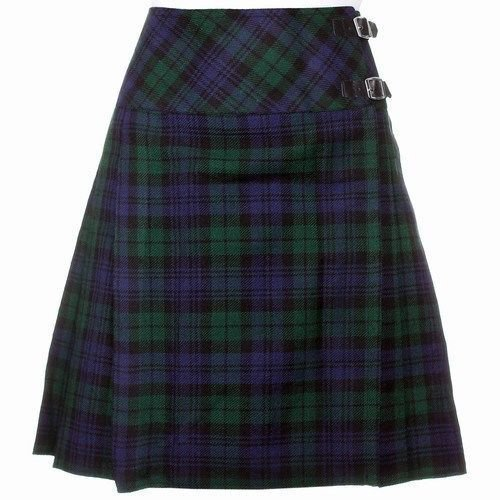 Size 32 Ladies Billie Pleated Kilt Knee Length Skirt in Black Watch Tartan