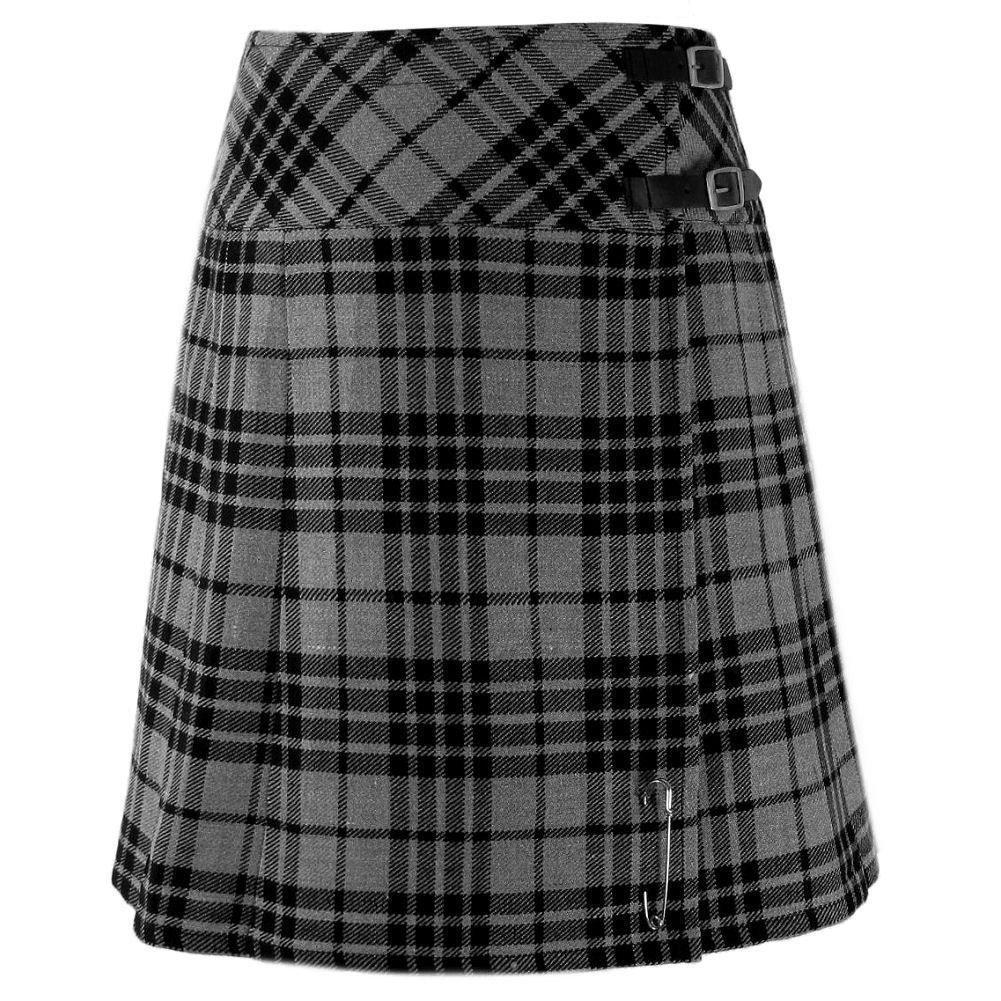 Size 28 Ladies Grey Watch Pleated Kilt Knee Length Skirt in Grey Watch Tartan