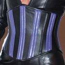 Blue Striped Steel Bone Leather Under bust Corset Bustier Waist training Shaper