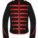 Large Size Men Black Parade Military Marching Band Drummer Jacket