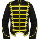 Large Size Handmade Men Black/Yellow Military Marching Band Drummer Jacket