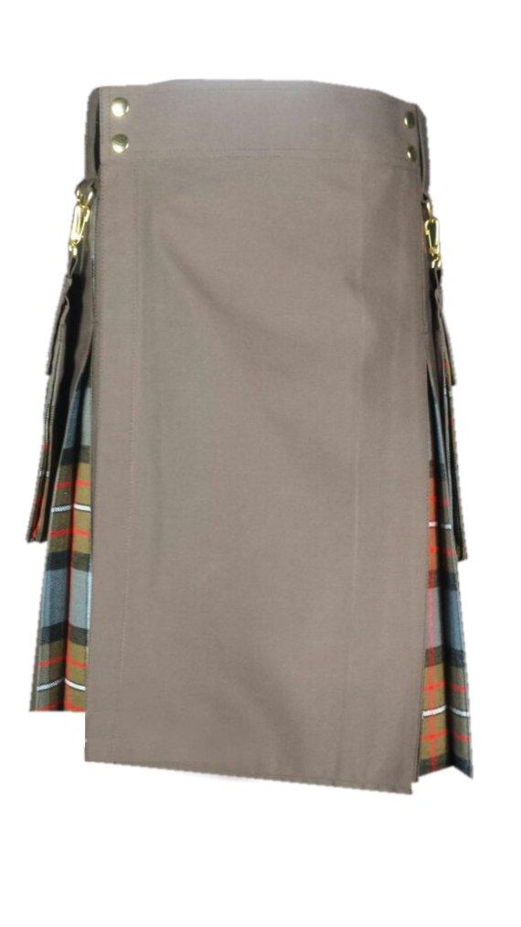 32 Size Brown Hybrid Kilt Custom Made Royal Stewart Black Watch Black Stewart Wallace