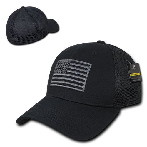 Black USA US American Flag Tactical Operator Mesh Flex Baseball Fit Hat Cap