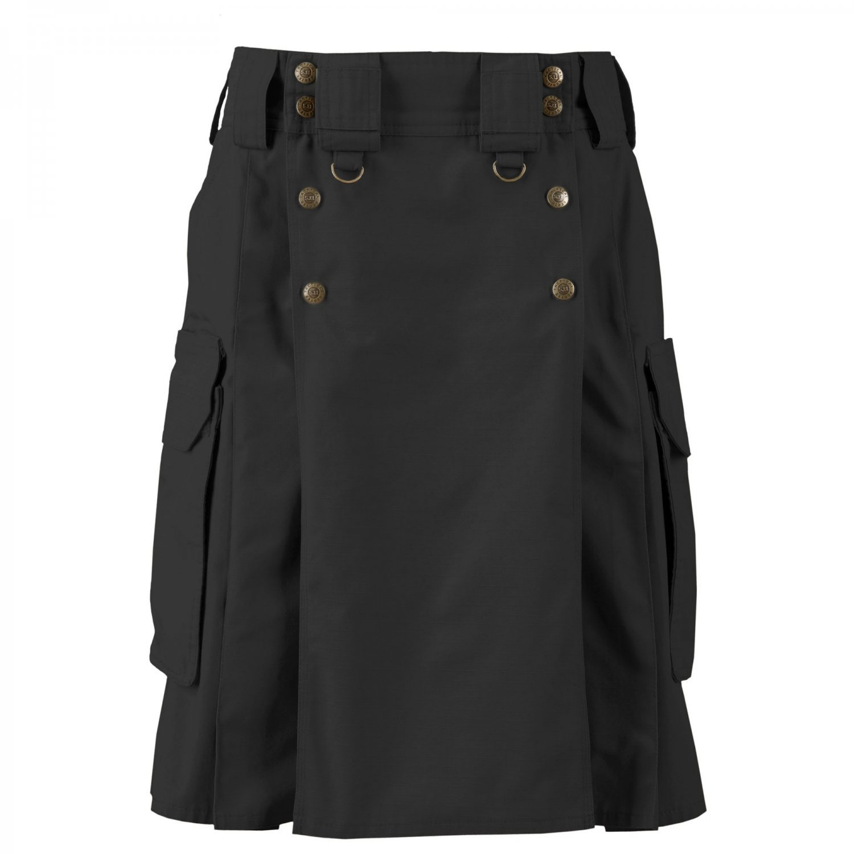 Active Men Handmade Tactical Black Cotton Utility Kilt With 4 Pockets