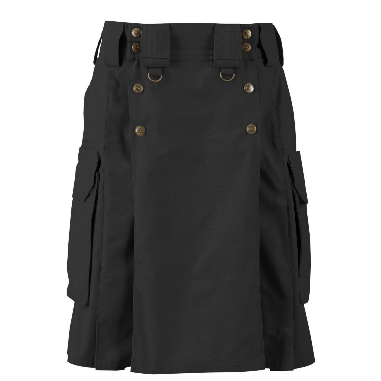 Tactical Black Cotton Kilt 4 Pockets Deluxe Duty Utility Kilt Worker Uniform Kilt