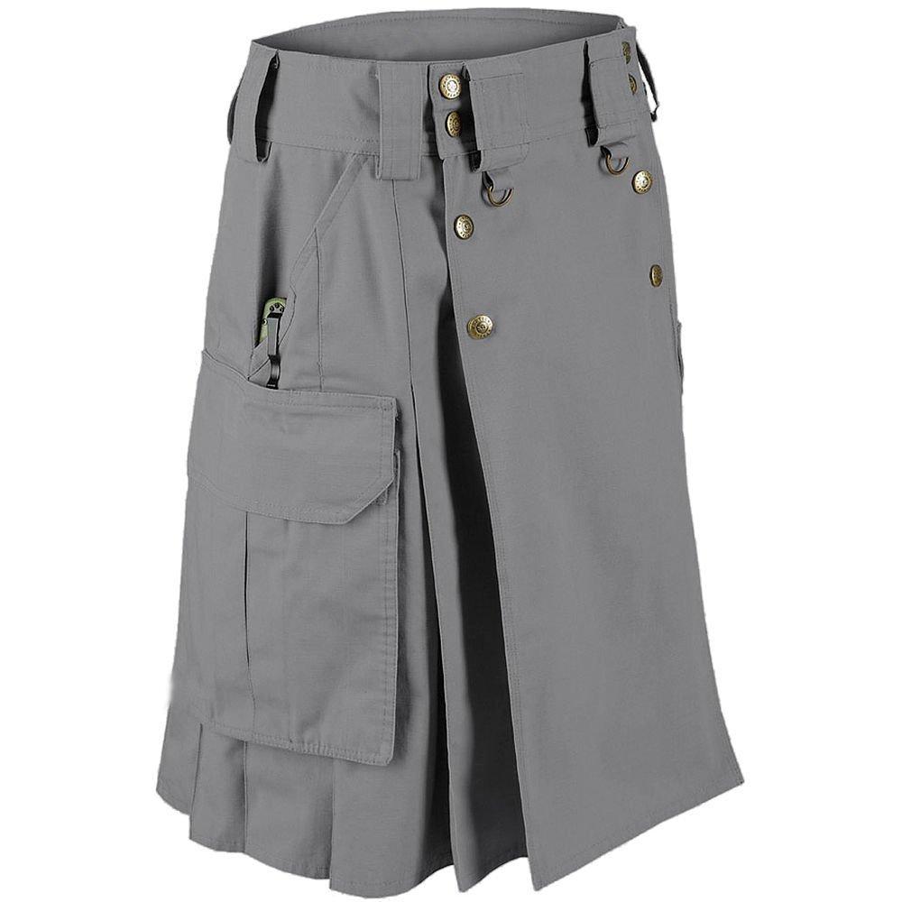 Active Men Handmade Grey Cotton Tactical Utility kilt With Slant Pocket