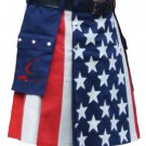 30 Size Custom Made American Flag Hybrid Utility Kilt With Cargo Pockets