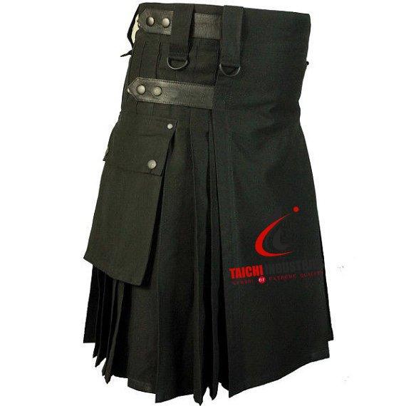 Size 50 Black Leather Strap Utility kilt for Active Men
