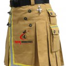 Size 42 Fireman Khaki Cotton UTILITY KILT With Cargo Pockets