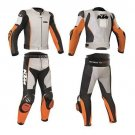 Men KTM Multicolored Motorcycle Leather Suit With Jacket Pant Safety Pads