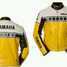 Yellow Motorcycle Motorbike Racing Leather Jacket Safety Pads For Yamaha