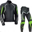GREEN Motorcycle RACING Leather Suit Jacket Pants For Kawasaki
